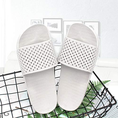 quming Unisexo Sandalia Tipo Chancla Verano,Sandalias de Goma Transpirables para Interiores, Zapatillas Huecas Antideslizantes de baño-Gris_40-41