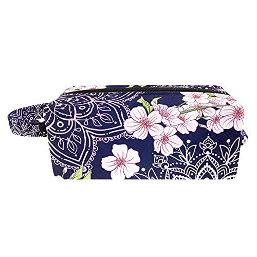 Bolsa de maquillaje de viaje/bolso de embrague/bolsa de cosmético/bolsa de maquillaje/bolsa de aseo, flor de colibrí azul