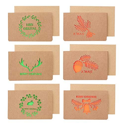 Paquete de 12 Tarjetas de Navidad, Tarjetas de Regalo de Felicitación de Feliz Navidad de Papel Kraft Marrón con Sobres para Navidad, con Diseño de Guirnaldas de Antlers Bells