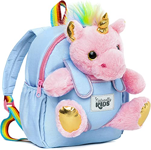 Naturally KIDS Small Unicorn Backpack - 3 - 4 Year Old Girl Gifts - Toddler Backpack for Girls Boy w Stuffed Animal - Toys for 3 Year Old Girls - w Pockets & Reflective Logo - Backpack w Pink Unicorn