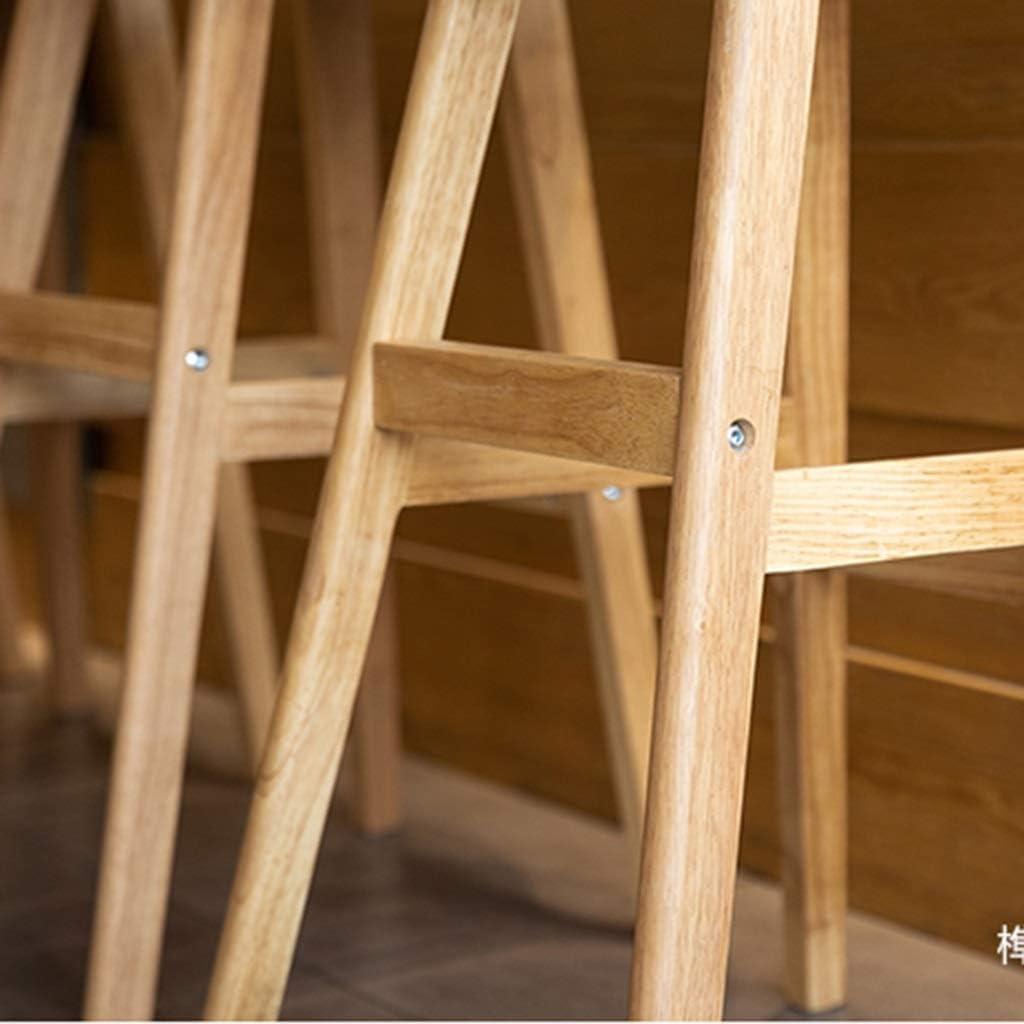 Tabouret de bar de petit déjeuner Tabouret de bar, Chaise en bois massif minimaliste moderne, Chaise haute de café (Couleur : H) L