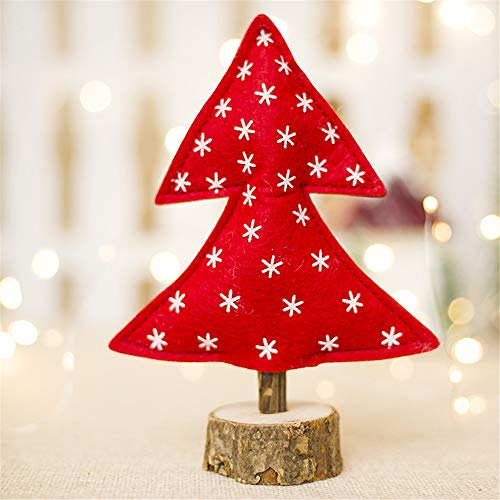 Iusun Tabletop Christmas Tree Cloth Doll Standing Desk Toy Birthday Present Decoration Bedroom Desk Window Ornament Bonsai for Home Office Supplies Gift (D)