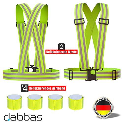 Dabbas Warnweste (2 STK.) für Fahrrad, Läufer, Jogger, Spaziergänger, Arbeit, Erwachsene, Kinder | Verstellbare Reflektorweste Reflektierende Sicherheitsweste für erhöhte Sichtbarkeit & Sicherheit