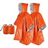 YOKEPO Emergency Blanket Poncho - Keeps You and Your Gear Dry and Warm   Survival Gear and Equipment for Outdoor Activity   Camping and Hiking Gear   Thermal Mylar Space Rain Ponchos   2 Pack