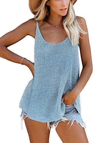 SMENG Tanktops top Damen Locker Fitting Camisoles Mode Kleidung Übergroße Einfarbig Pullover Stricken Hemden Spitze V-Ausschnitt Blusen Blau Grösse L