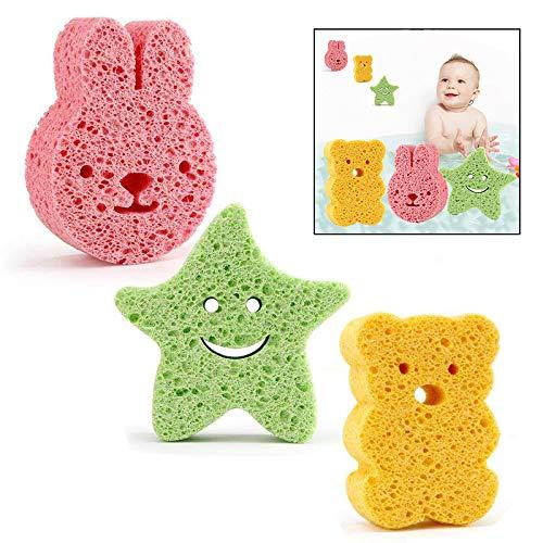 Xrten 3 Pcs Esponja de baño para bebé niños, Suave y cómodo Forma Animal