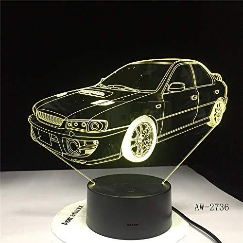 hqhqhq Coche 3D luz Nocturna Degradado Forma USB mesita de Noche Dormitorio lámpara de Mesa USB decoración Interior lámpara de atmósfera cumpleaños Nuevo Regalo 6111