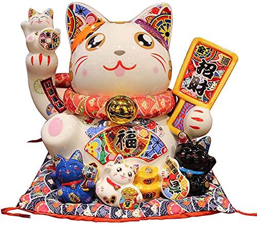 Hucha con Almohadilla de algodón Cerámica Lucky Gato con Campana Buena Suerte Riqueza Fortuna Acogida Gatos para la Tienda Hotel, B