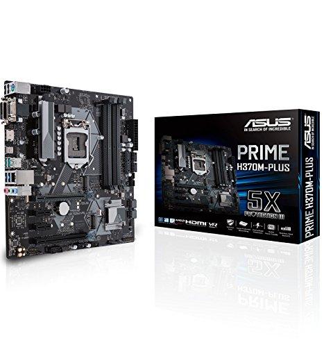 Asus PRIME H370M-PLUS Scheda Madre, Chipset Intel H370, Supporto Processori Intel 8 Generazione, LGA1151, MicroATX, Nero