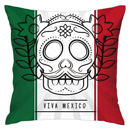 N\A Dekorative Kissenbezüge, Muster Soft Viva Mexico Skull Moustache Kissenbezüge für Couch Bed Sofa