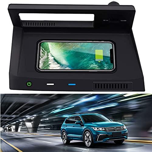 WEIFLY Inalámbrico Cargador de Coche para VW Tiguan 2019 2020 2021 Center Console Accesorios Campo, 10W Qi Cargador rápido Pad con Control de Calidad 3.0 Puerto USB para iPhone 12/11 / XS/XR/X,
