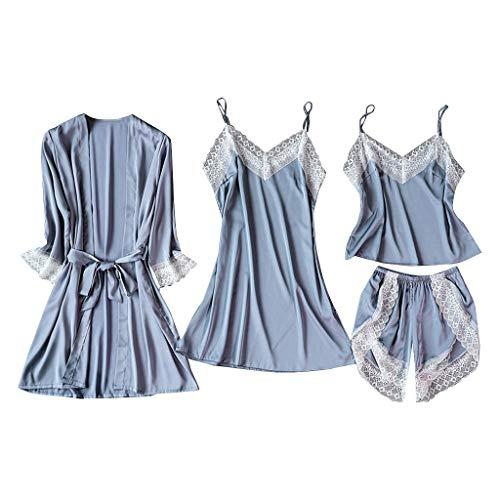 DNOQN Satin Silk Pyjamas Strickjacke Nachthemd Bademantel Damen Roben Unterwäsche Nachtwäsche