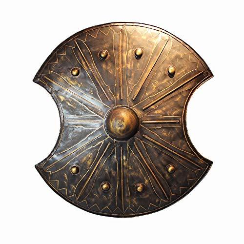 KCCCC Escudo Medieval Caballos Escudo Medieval decoracin de la Pared 48x72cm Escultura para Nios Disfraz de Caballero (Color : Brass, Tamao : 48x72cm)