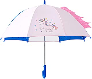 JKTOWN 子どもの傘 軽量 子供傘 40cm キッズ傘 女の子 男の子 グラスファイバー骨 長傘 手動式の傘 (ピンクのユニコーン)