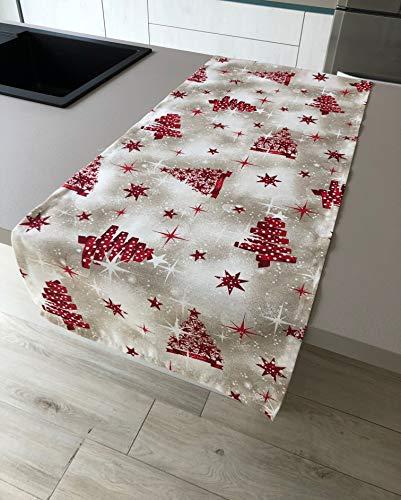 1KDreams Mantel navideño de mesa de algodón, 50 x 140 cm, diseño elegante y moderno, estilo shabby chic en clave moderna, fabricado en Italia (50 x 140 cm)