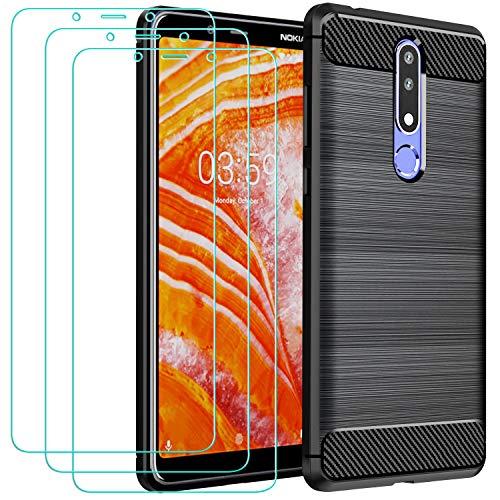 iVoler Cover per Nokia 3.1 Plus + 3 Pezzi Pellicola Vetro Temperato, Fibra di Carbonio Custodia Protezione in Morbida Silicone TPU Anti-Graffio e Antiurto Protettiva Case - Nero