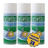 Rampi Deortex - Spray Deodorante Igienizzante Professionale Tessuti Ambiente Auto Cassetti Scarpe Armadio Profumo Hotel Palestra Accessori Lavanderia - 3 Pezzi da 400 ml
