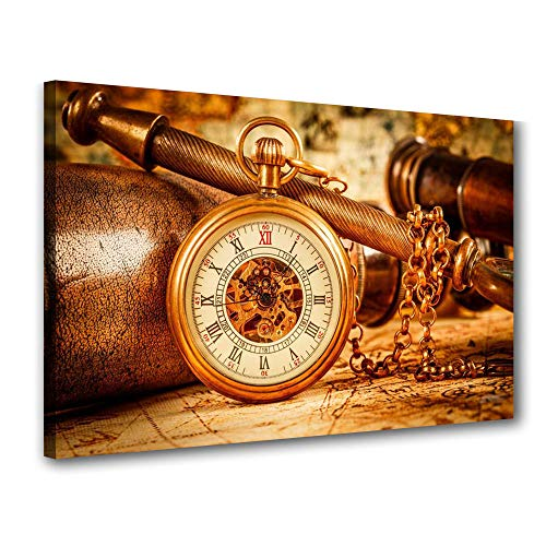 Quadro Decorativo Bussola Ouro Escritorio