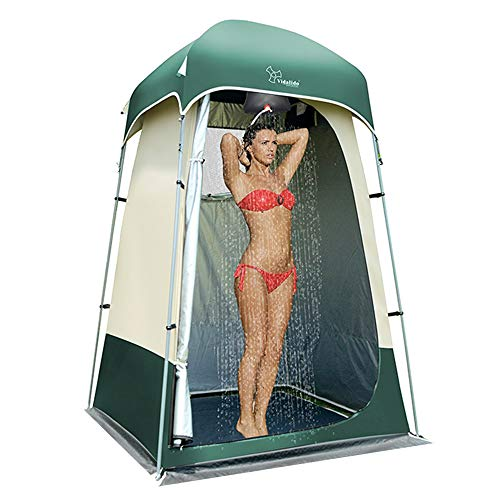 Vidalido Outdoor Shower Tent Changing Room Privacy Portable Camping Shelters (White+Green)