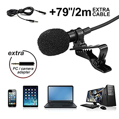 Lavalier Microphone, Hizek Lapel Omnidirectional Condenser Microphone with Clip for iOS & Android Smartphones