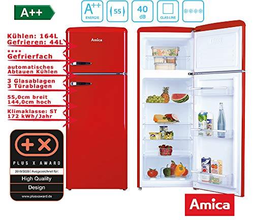 Amica Retro Kühl-/Gefrierkombination Rot KGC 15630 R A++ 213 Liter mit **** Gefrierfach Chili Rot