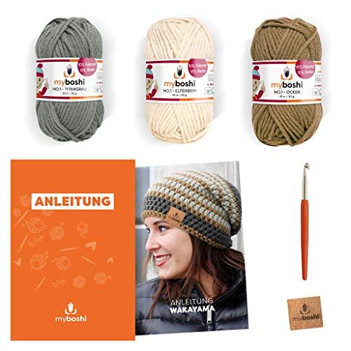 myboshi Häkel-Set Mütze Wakayama | aus No.1 | Anleitung + Wolle | mit passender Häkelnadel | Titangrau Elfenbein Ocker