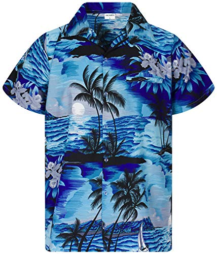 King Kameha Funky Chemise Hawaienne, Surf New, Turquoise Fonce, XL