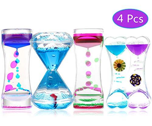 ZCOINS 4er Pack Sensory Liquid Motion Timer Spielzeug, Geigenspielzeug Autismus Sensorisches Spielzeug Zappelspielzeug für Erwachsene und Kinder, Geburtstagsgeschenk Desktop Ornamente