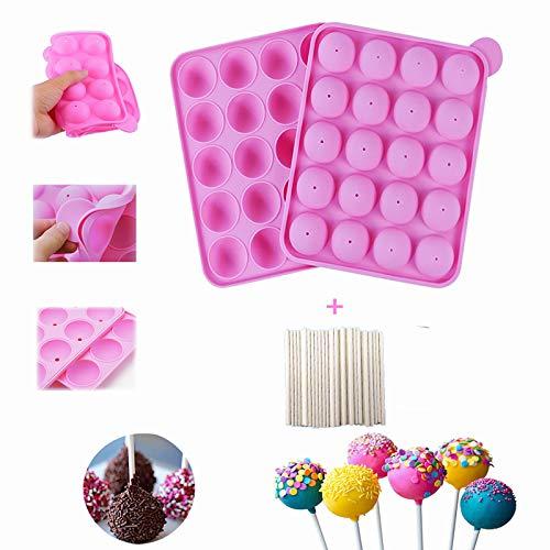 YOUYIKE Molde Lollipop,20 Silicona Bandeja Pop Cake Stick Mould Lollipop Partido de Utensilios - Libre de BPA, Pasteles, piruletas, Caramelos, Jelly y Chocolate