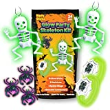 PartySticks Glow Party Skeleton Kit Halloween Toys Party Favors for Kids- 24pk Glow in The Dark Halloween Decorations with 15 Glow Sticks, 3 Skeletons, 3 Spider Rings, and 3 Glow Bracelet Connectors