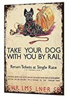 レールで犬を連れて行くブリキ看板ヴィンテージ錫のサイン警告注意サインートポスター安全標識警告装飾金属安全サイン面白いの個性情報サイン金属板鉄の絵表示パネル