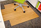 Anji Mountain Bamboo Roll-Up Chair Mat with Lip, Natural, 44 x 52', 5mm Thick