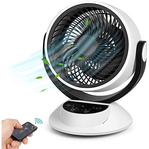 Ventilador de Sobremesa Silencioso, Potente Circulación de Corriente de Aire, Pantalla Táctil LCD, Control Remoto, Sincronización 1-7 Horas, 3 Velocidades, Fácil de Operar (Blanco)