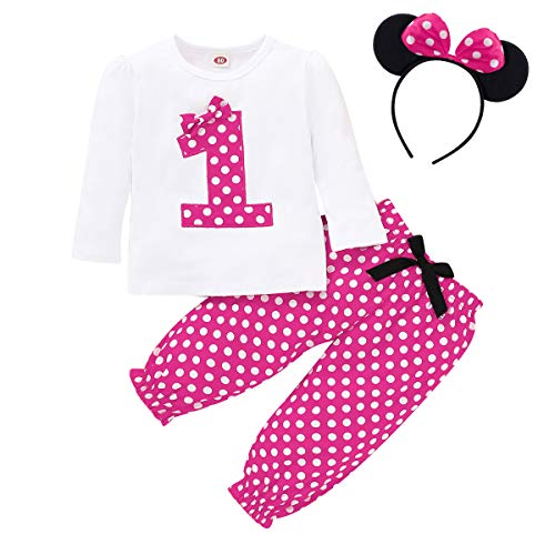 FYMNSI Infant Baby Girl 1st First Birthday Cake Smash Outfit Polka Dots Cotton Long Sleeve T-Shirt Top Pants Ear Bowknot Headband 3pcs Clothes Set Photo Props Hot Pink 1st Birthday 12-18 Months
