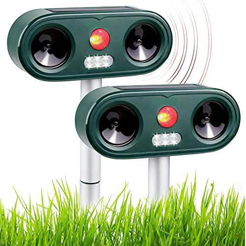 Repellente Gatti 2 PCS Repellente Ultrasuoni per Tenere Lontani Cani, Gatti, Uccelli, Ricarica USB e Solare, Frequenza Regolabile, Impermeabile per Ambienti Esterni
