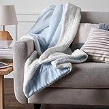 AmazonBasics Micromink Sherpa Blanket - Full/Queen, Smoke Blue