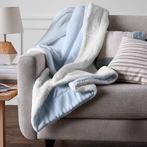 Amazon Basics Ultra-Soft Micromink Sherpa Blanket - Twin, Smoke Blue