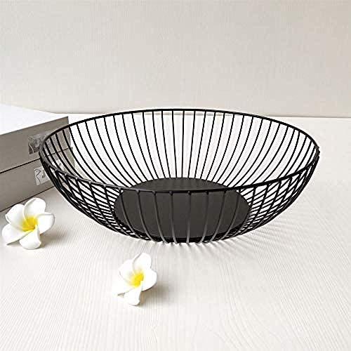 Soporte de canasta de cuenco de fruta de encimera de alambre de metal para cocina Decoración de mesa moderna negra para el hogar