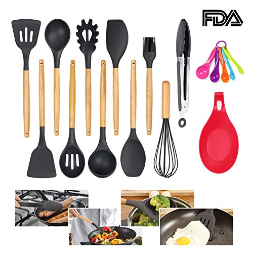 Colourstone Utensilios Cocina de Silicona, 11 Piezas Antiadherente Utensilios Cocina con Mango de bambú, Regalo para 5 Cucharas Medidoras y Silicona Cuchara Resto