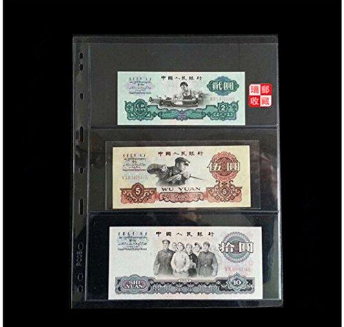 5pcs claires 3 poches Protector Stamp monnaie de papier Pages Insérez Feuilles
