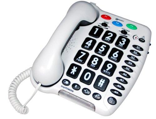 Geemarc TELEPHONE AMPLIFIE +60db AMPLIPOWER 50 BLANC AVEC GROSSES TOUCHES