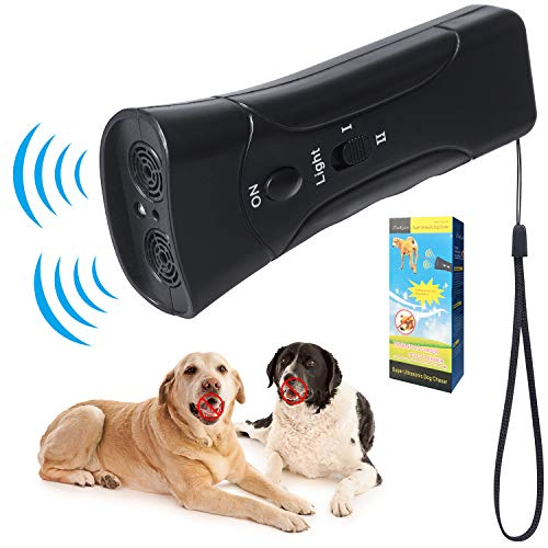 Roberly Anti Barking Device,Handheld Ultrasonic Dog Bark Deterrent, Dogs Good Training Aid Control Driving with LED Indicato/Safe Walk a Dog Outdoor (Black)