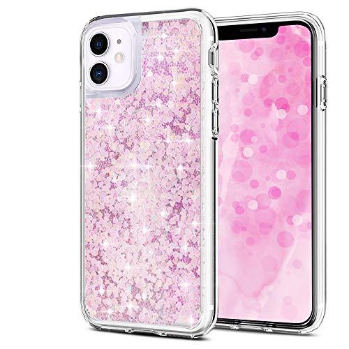 Wsky Funda para iPhone 11 parpadeante rosa claro funda para teléfono móvil móvil elegante y hermosa, especialmente para mujeres, transparente y suave iPhone 11 Case