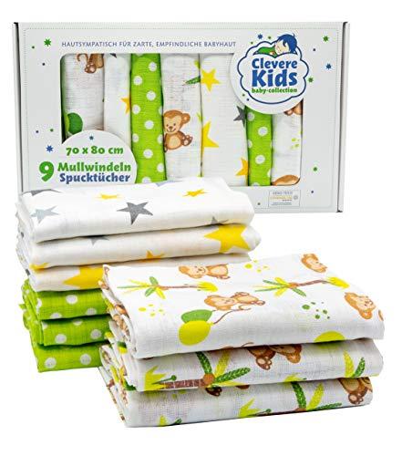 Clevere Kids - Paños de muselina para niños, paquete de 9 unidades, estampados, Oeko-Tex, tejido doble, 70 x 80 cm, paños para vómitos (Little Monkey Lime)