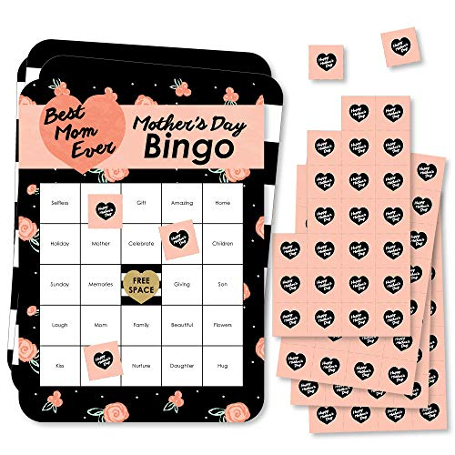 Big Dot of Happiness Best Mom Ever - Bingo Cards and Markers - Mother's Day Bingo Game - Set of 18