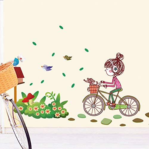 Girl Birds Bike Flowers Art Decal Pegatinas de para la decoratieve houten haard DIY Mural Habitaciones para nños Decoration de la Pared Envío gratis