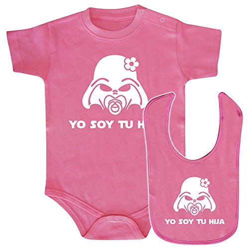ClickInk Pack Body bebé y babero Yo soy tu hija. Parodia Yo soy tu padre. Regalo original. Body friki. Babero friki. (Rosa, 9 meses)