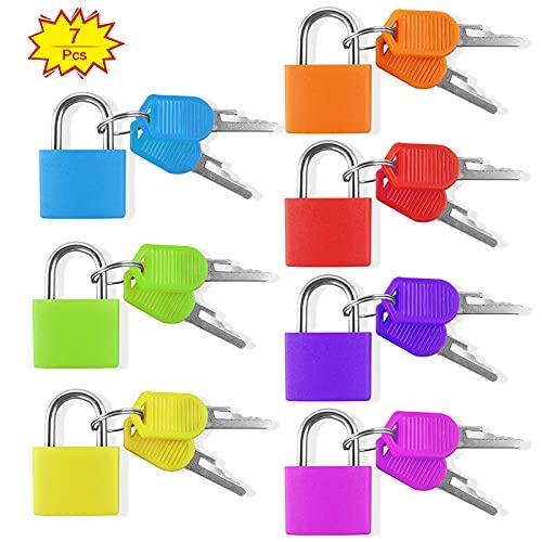 Yuehuabao 7Pcs Candado Colores Pequeños de Latón Mini Candado con 2 Llaves Cerradura de Seguridad para Equipaje Maleta Viaje y Mochila(7 Colores, 3.3x2.3x1cm)