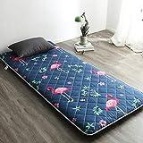 Shin Gesteppter Vollständige Baumwolle Futon Matratze, Japanisches Tatami Boden Matte Faltende matratze Geeignet für Camping, Yoga, Schlafsaal,Flamingo(Blue),90 * 200cm