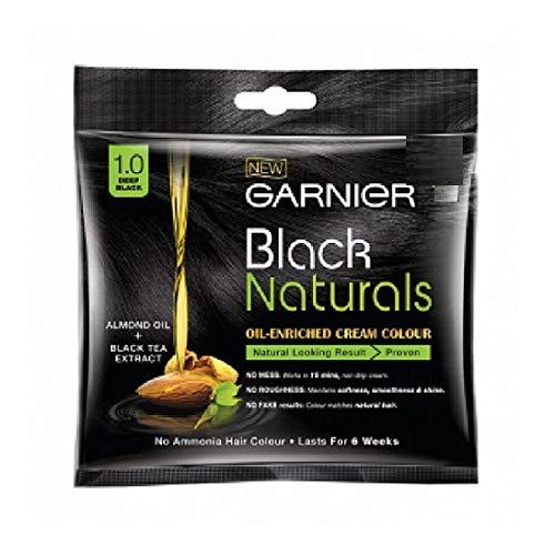 Garnier Black Naturals Hair Color, Shade-1 Deep Black 20ml+20g [Pack of 4]